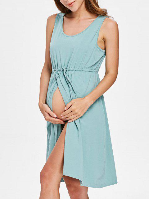 Drawstring Maternity Dress - BLUE GREEN L