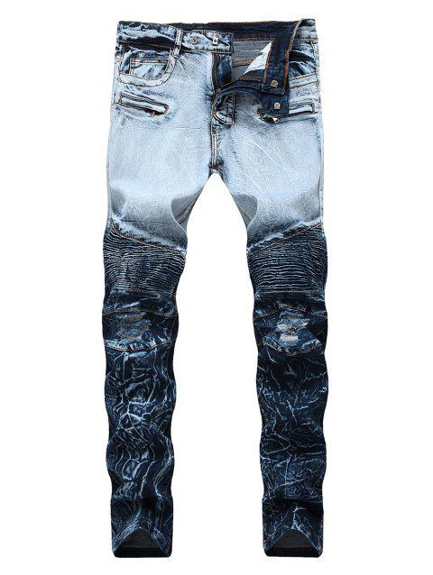 Zip Embellished Ombre Biker Jeans - BLUEBERRY BLUE 38