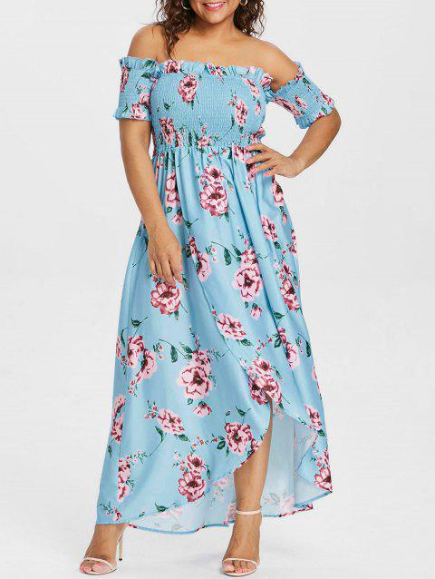 Plus Size Tulip Off Shoulder Dress - LIGHT BLUE 3X