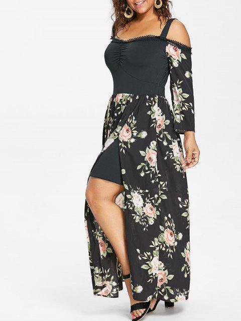 Plus Size Floral Long Sleeve Flowing Dress - BLACK 2X