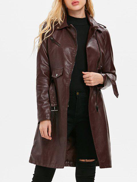 Zip Up PU Coat with Belt - RED WINE M