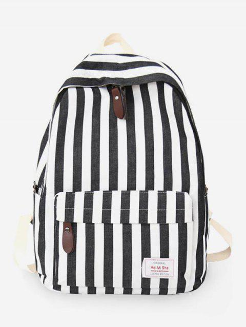 Stripes Casual Practical Travel Backpack - BLACK