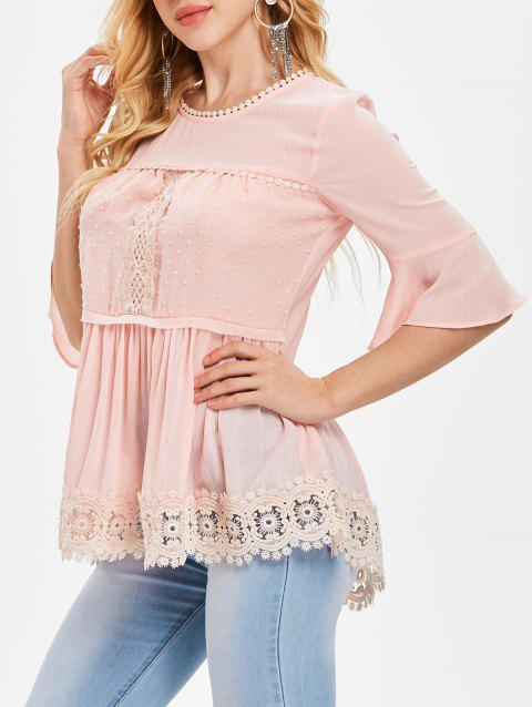 Blouse Manches de Cloche à Ourlet en Crochet - Chewing Gum Rose S