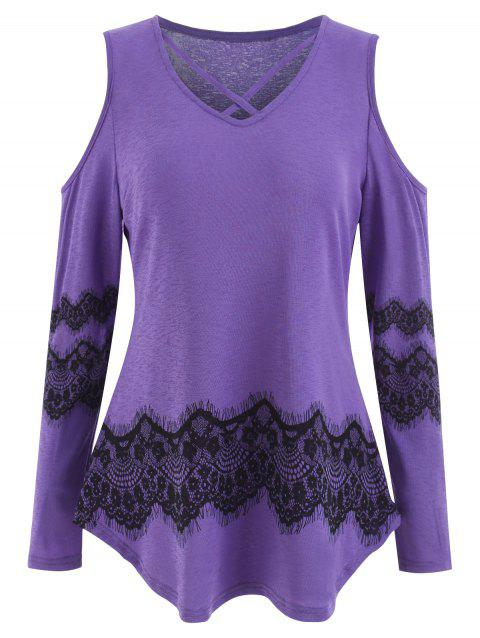 Shoulder Cut Lace Printed Long Sleeve T-shirt - PURPLE MIMOSA 2XL