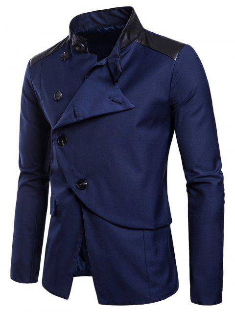 Casual Stand Collar Asymmetric Sideling Buttons Suit Blazers - DENIM DARK BLUE M