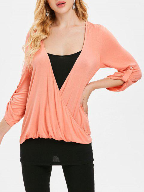 Roll Tab Sleeve Panel Faux Wrap Top - ORANGE PINK L