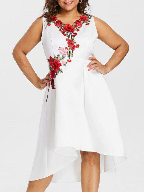 Plus Size Embroidery V Neck Dress - WHITE 1X