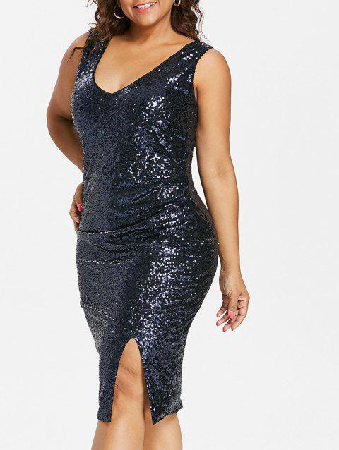 Plus Size V Neck Sequined Dress - CADETBLUE 5X