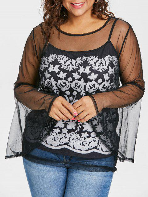 Plus Size See Thru Top with Print Camisole - BLACK L