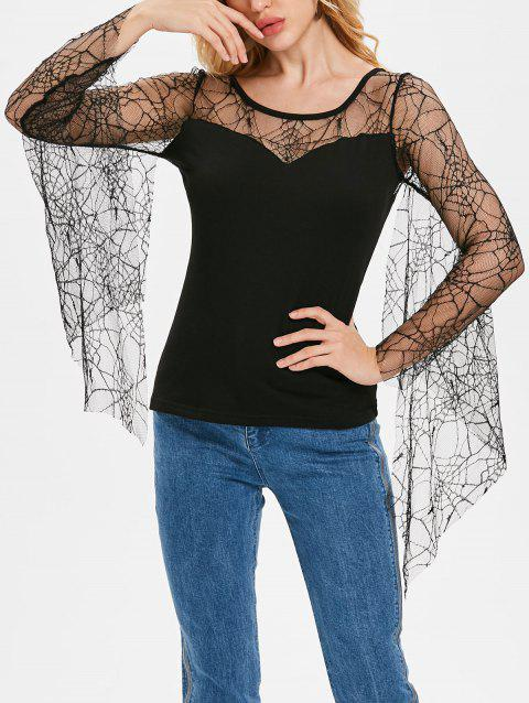 Flare Sleeve Spider Web Lace T-shirt - BLACK 2XL