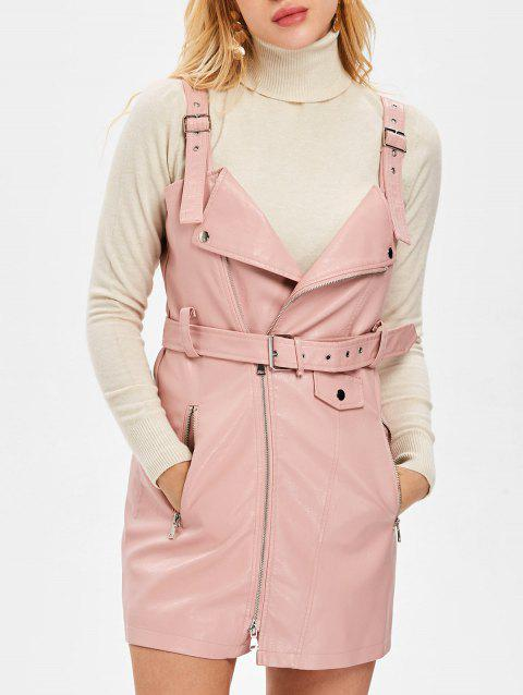 Pinafore Dress with Adjustable Straps - PINK M