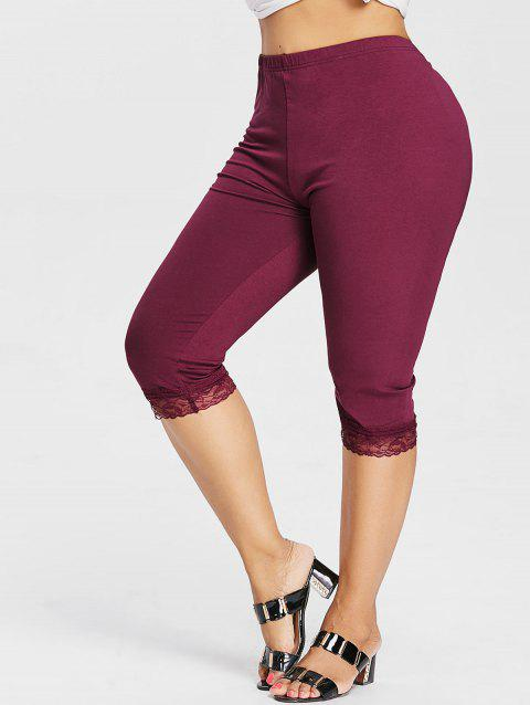 Plus Size High Waisted Lace Hem Leggings - RED WINE 2X