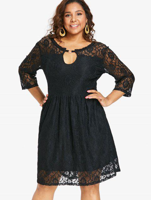 Plus Size Back Deep V Lace Dress