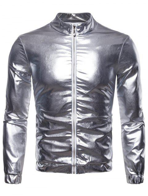 Blinking Night Club Wear Front Zip Jacket - SILVER XL