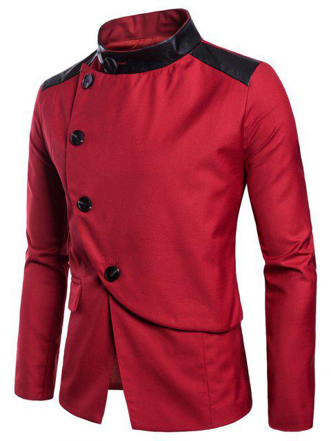 Casual Stand Collar Asymmetric Sideling Buttons Suit Blazers - LOVE RED M