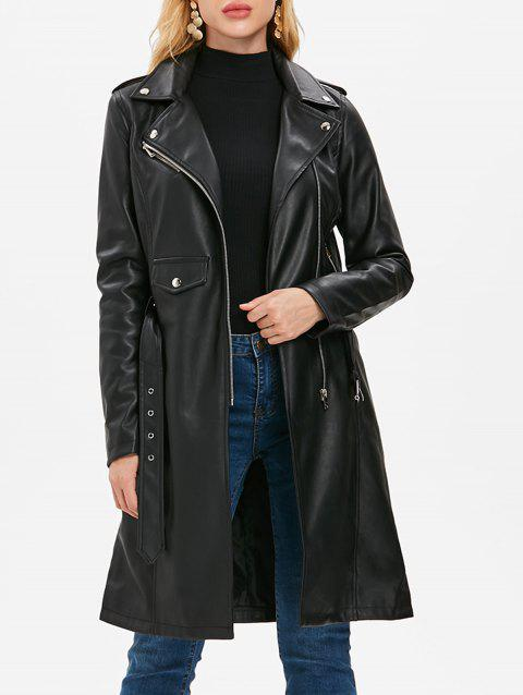 Zip Up PU Coat with Belt - BLACK L