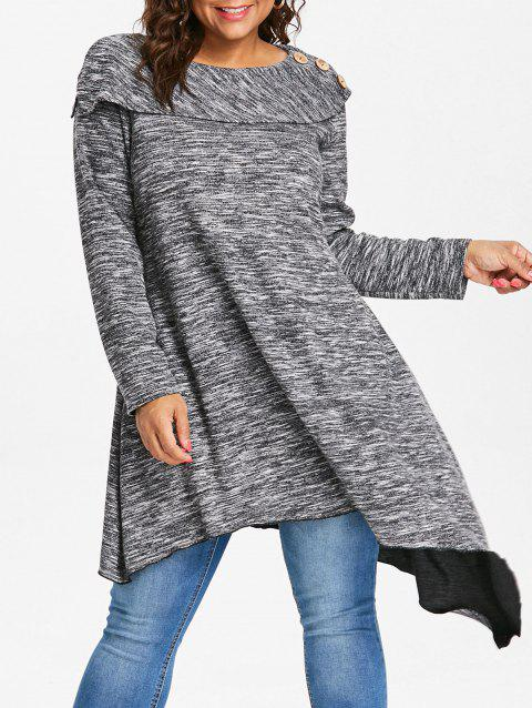 Space Dye Plus Size Sweater - DARK GRAY 5X