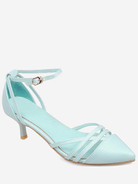 Plus Size Two Piece Pointed Toe Pumps - BLUE LAGOON 38