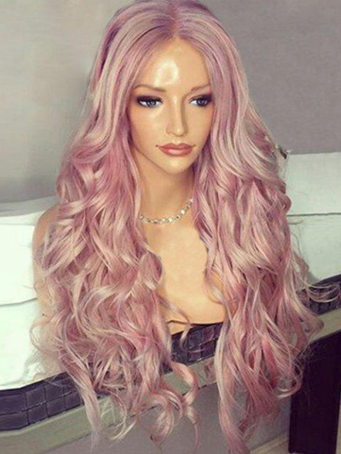 Center Parting Fluffy Long Wavy Synthetic Wig - PINK