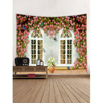 Flowers Windows Printed Tapestry Wall Art - multicolor W79 INCH * L59 INCH