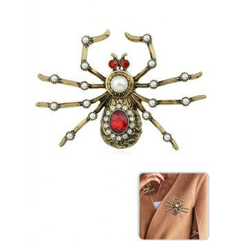 Artificial Pearl  Spider Shaped Rhinestone Brooch - GOLD