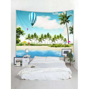 Tropical Coconut Palms Balloon Beach Scenery Print Wall Tapestry - multicolor W79 INCH * L71 INCH