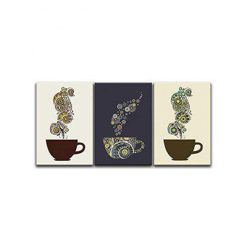 Coffee Cup Print Unframed Canvas Paintings - multicolor 3PC:16*24INCH(NO FRAME)