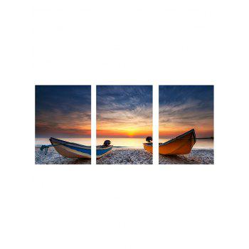 Sunset Beach Boat Print Unframed Canvas Paintings - multicolor 3PCS:24*35 INCH( NO FRAME )