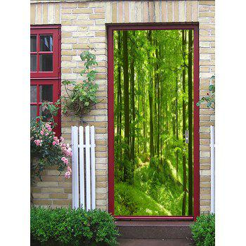 Mountain Forest Printed Door Art Stickers - GREEN SNAKE 38.5*200CM*2PCS