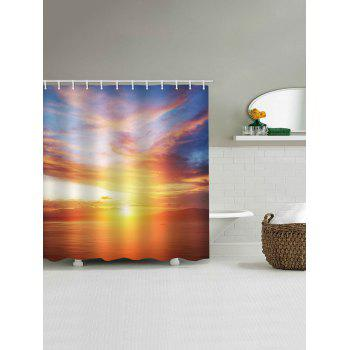 Sunset Sea Print Waterproof Shower Curtain - multicolor W71 INCH * L79 INCH