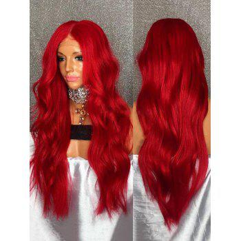 Long Center Parting Party Wavy Heat Resistant Synthetic Wig - RED WINE