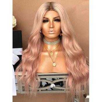 Middle Part Long Gradient Wavy Party Synthetic Wig - LIGHT PINK