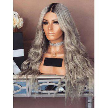 Long Middle Part Ombre Wavy Heat Resistant Synthetic Wig - multicolor
