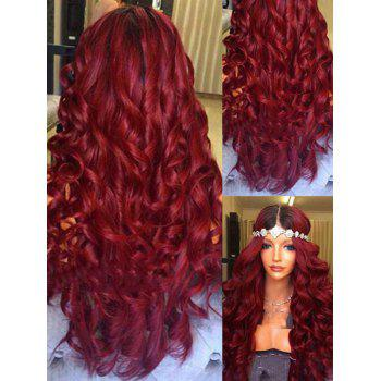 Middle Part Long Body Wave Ombre Synthetic Wig - RED WINE