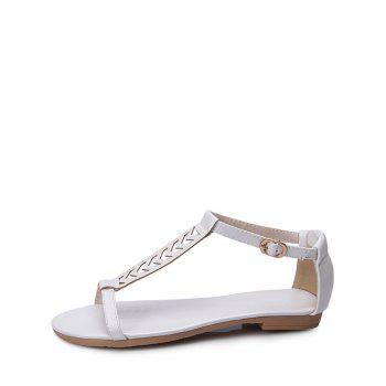 Plus Size Ankle Wrap Hollow Out Sandals - WHITE 42