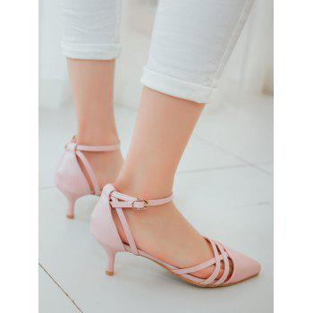 Plus Size Two Piece Pointed Toe Pumps - PINK 40