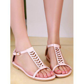 Plus Size Ankle Wrap Hollow Out Sandals - PINK 39