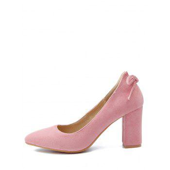 Plus Size Block Heel Bowknot Chic Pumps - PINK 40