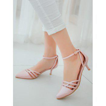 Plus Size Two Piece Pointed Toe Pumps - PINK 37
