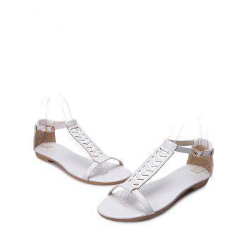 Plus Size Ankle Wrap Hollow Out Sandals - WHITE 43