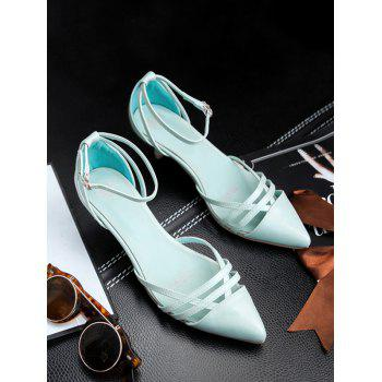 Plus Size Two Piece Pointed Toe Pumps - BLUE LAGOON 39