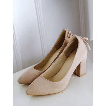 Plus Size Block Heel Bowknot Chic Pumps - BEIGE 41