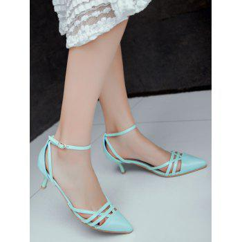 Plus Size Two Piece Pointed Toe Pumps - BLUE LAGOON 37