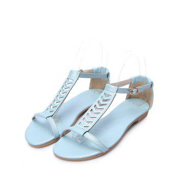 Plus Size Ankle Wrap Hollow Out Sandals - DENIM BLUE 40