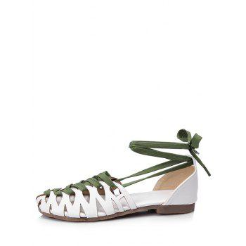 Plus Size Flat Heel Hollow Out Lace Up Sandals - WHITE 41
