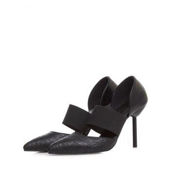 Plus Size High Heel Pointed Toe Pumps - BLACK 40