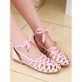 Plus Size Flat Heel Hollow Out Lace Up Sandals - PINK 38