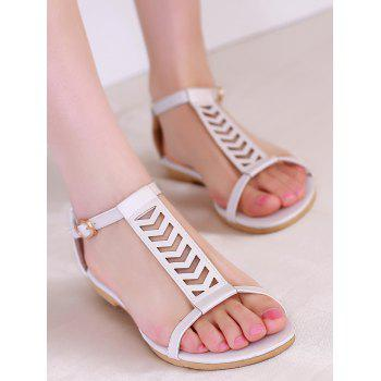 Plus Size Ankle Wrap Hollow Out Sandals - WHITE 40