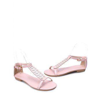 Plus Size Ankle Wrap Hollow Out Sandals - PINK 42