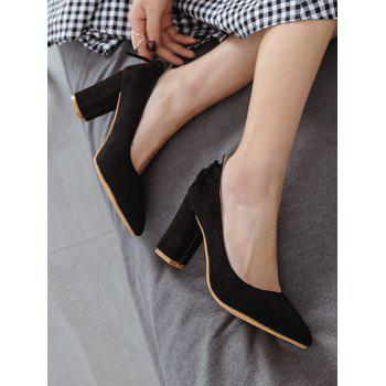 Plus Size Block Heel Bowknot Chic Pumps - BLACK 37